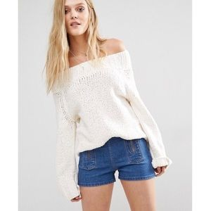 free people / off shoulder white beach slouchy